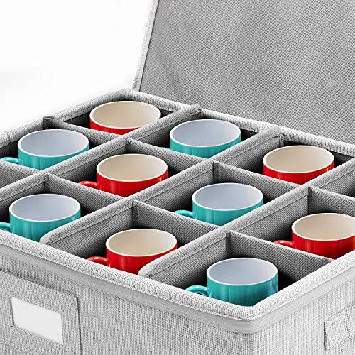 YOO Cups and Mugs Storage BoxProtects for Coffee Mugs and Tea Cups 12Hard Shelled Moving Boxes for Dishes and Glassware inDi&inWE