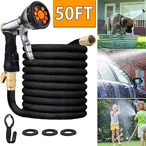 Whale 50ft Lightweight Expandable Garden Hose with 9 Function Nozzle,Flexible Outdoor Kink Free Water Hose, Durable 4-Layers Latex, 3/4 Solid Brass Fittings,Best Choice for Watering and Washing