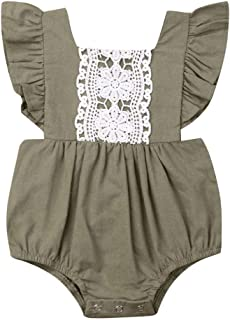 Baby Girl Summer Clothes Lace Boho Ruffle Romper Backless Button Jumpsuit Solid Bubble Clothing