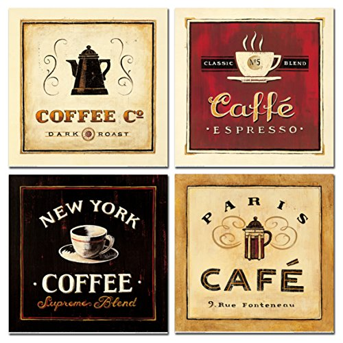 Abstract Coffee Canvas Prints Wall Art Pictures Drinking Paintings Artworks Brown Black and Red for Living Room dinning room Office walls Decoration, set of 4 Framed pieces 12x12 inch