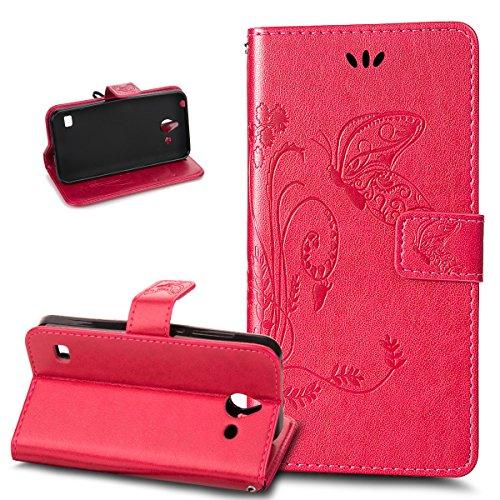 Kompatibel mit Huawei Ascend Y550 Hülle Lederhülle Handyhülle,Prägung Groß Schmetterling Blumen PU Lederhülle Flip Hülle Cover Ständer Wallet Case Schutzhülle für Huawei Ascend Y550,Rose Red