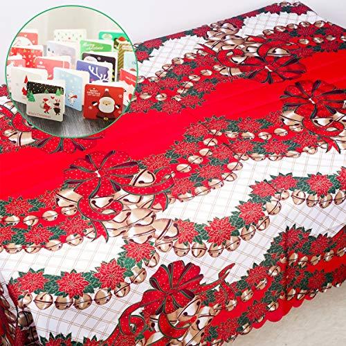 クリスマス テーブルクロス テーブルカバー クリスマス飾り ベル レストラン 背景布 暖炉 玄関 飾り付け クリスマスディナー 雰囲気作り パーテイーグッズ クリスマスカードが付属しています150*180cm (150*180cm ベル)