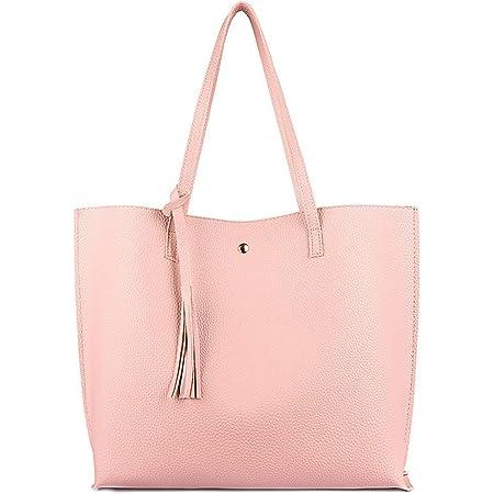 ZhengYue Handtasche Damen Tasche Schultertasche Große PU-Leder Tasche Handtaschen Shopper Shopping Bag Umhängetasche Tasche für Alltag Büro Schule Ausflug Einkauf Rosa