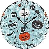 sam-shop Blanco Murciélago Halloween Calabaza Números arábigos Reloj de Pared Decorativo
