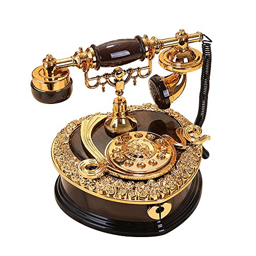 ornerx Shiny Vintage Dial Telephone Shaped Music Box Black