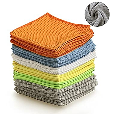 BONDRE Multi-Function Microfiber Cleaning Cloths - 24Pack | Absorbent for Home/Kitchen/Car Glass/Disk Screen/Tablets |, 12x12 Inch.