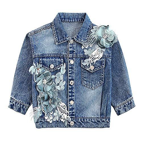 L SERVER Baby Mädchen Jeans Stickblumen von Hand nähen Bestickter Jeansjacke, Blau, 122-128