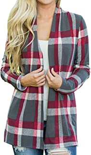 TWGONE Women Buffalo Plaid Cardigan with Elbow Patches Open Cape Casual Coat Loose Blouse Kimono Jacket