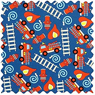 SheetWorld 100% Cotton Percale Fabric by The Yard, Fire Trucks Blue, 36 x 44