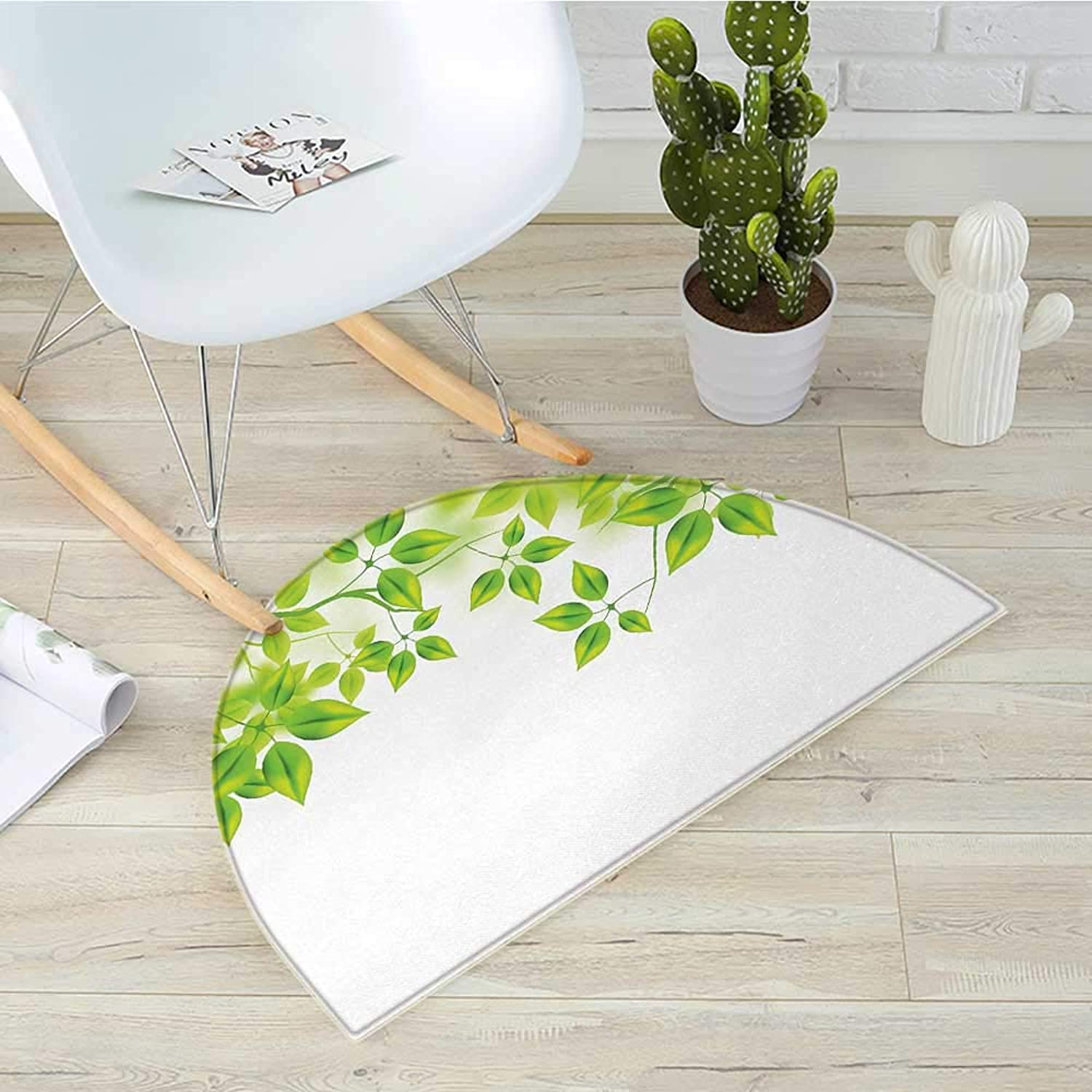 Leaves Semicircular CushionFreshening Background with Vibrant Leaves in Spring Flourishing Open Up Plant Theme Entry Door Mat H 39.3  xD 59  Green White