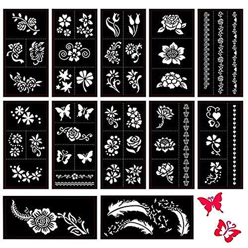 Xmasir 12 Sheets Tattoo Schablonen Set für Frauen Mädchen Körper Hände Henna Bemalung, Glitzer Tattoo und Air Brush Tattoo, Schmetterling/Feder/Blume