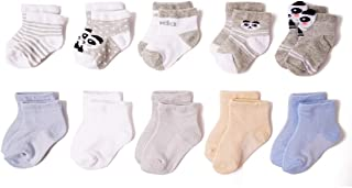 10-Pairs Unisex Baby Sock Mesh Breathable Thin Cotton Ankle Sock with Grip 0-12 Month