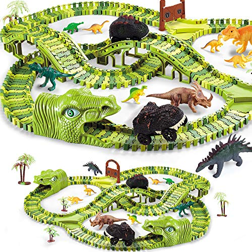 Dinosaur Toys for Kids Gift,280pcs Dinosaur Theme World Race Toy with 240 Flexible Track Playset, 10 Dinosaurs, 2 Dinosaur Cars,Christmas Birthday Gift for 3 4 5 Year Up Old Boys Girls
