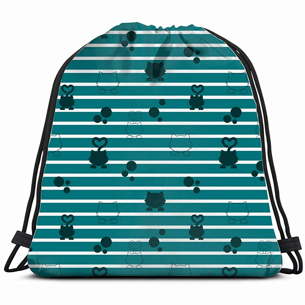 funny blue cat silhouette pattern animals wildlife Drawstring Bag for Women Drawstring Hiking Backpack Gym Bag for Women 17X14 Inch xaoczswwnnh45