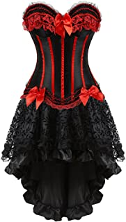 Steampunk Corset Skirt with Zipper,Multi Layered High Low Outfits