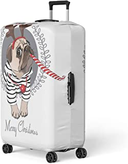 Pinbeam Luggage Cover Christmas Pug Dog in Striped Cardigan Horn Deer Travel Suitcase Cover Protector Baggage Case Fits 22-24 inches