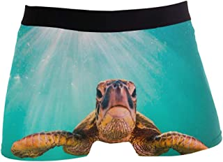 Christmas Boxer Briefs Soft Polyester Spandex Small Hawaiian Green Sea Turtle Mens Funny Boxers Funny Underwear for Men