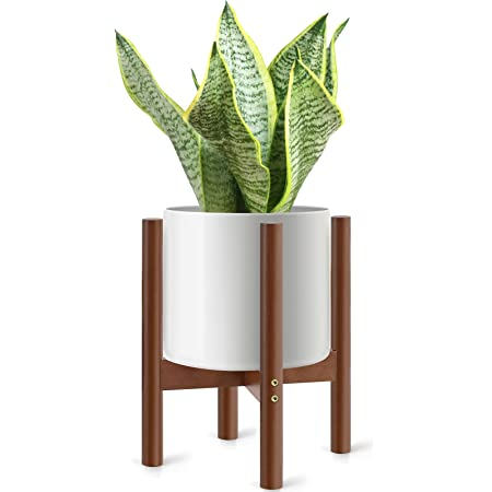 """Wooden Plant Stand for Indoor Plants, Mid Century Modern Plant Fit Pots Under 10"""", Walnut"""