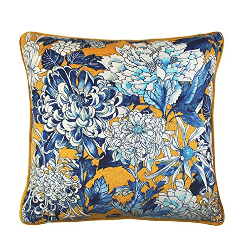 Scatter Box Sakura Velour Feather Filled Piped Cushion, Yellow/Blue, 45 x 45 Cm