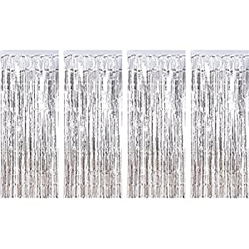 Sumind 4 Pack Foil Curtains Metallic Fringe Curtains Shimmer Curtain for Birthday Wedding Party Christmas Decorations  Silver