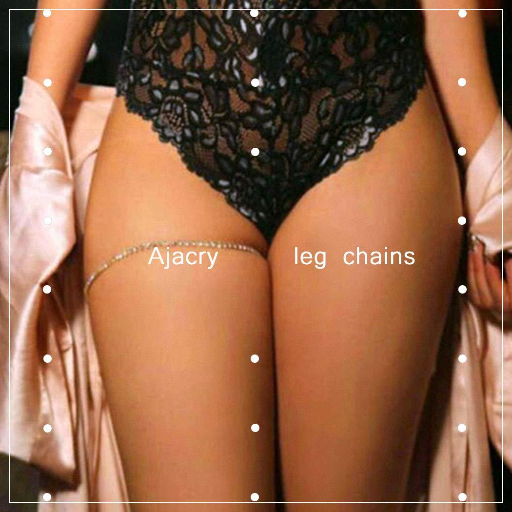 Ajacry Boho Monolayer Bikini Rhinestone Leg Chain Sexy Body Chain Accessories for Women and Girls