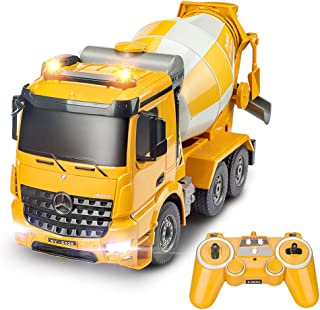 DOUBLE E Remote Control Cement Mixer 8 Channel RC Concrete Mixer Auto Dumping with Lights and Sounds Rechargeable Battery 2.4GHz