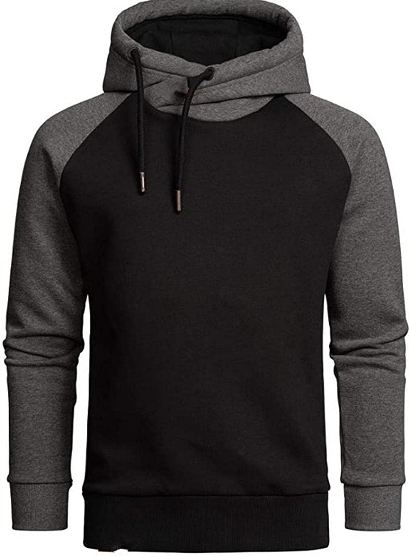 Qsctys Men's Contrast Color Pullover Hoodies Sports Soft Blend Fleece Hooded Sweatshirts One Piece Slim Crewneck Long Sleeve