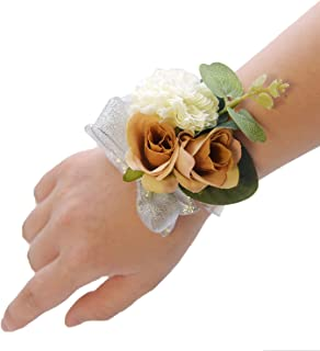 Pauwer Wedding Corsage Set of 6 Girl Bridesmaid Hand Flower Wrist Corsage Wedding Prom Party (A Corsage Set of 6-Champagne)