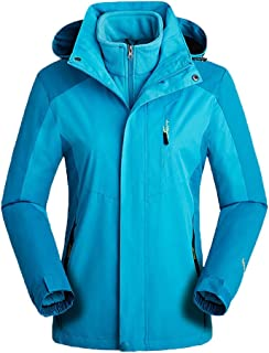 iHHAPY Women's Outdoor Jacket Detachable Transition Jacket Waterproof Jacket with Hood Softshell Rain Jacket Plush Lined
