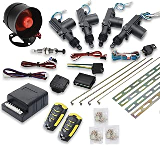 SUNWAN Car Remote Central Locking Kit 4 Doors Keyless Entry System + Anti-theft Alarm Immobiliser System with Shock Sensor... photo
