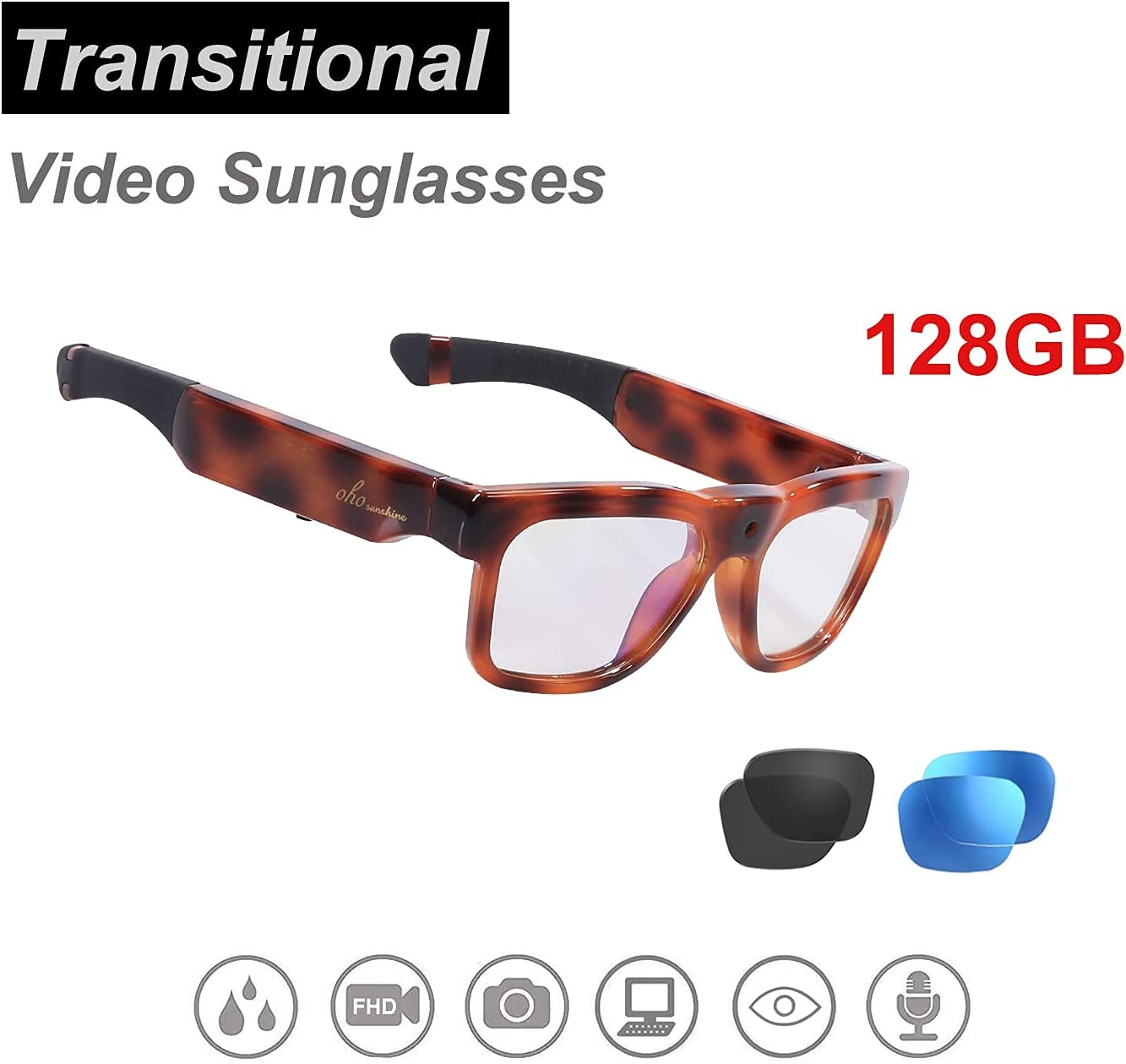 OhO Mini Camera Sunglasses, Water Resistance Ultra Full HD Camera with Built-in 128GB Memory and Blue Light Blocking and Transitional Safety Lens for Indoor and Outdoor Use