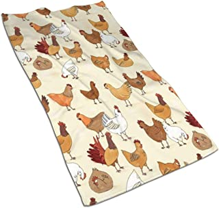 Yellow&White Chicken Pattern Kitchen Towels - Dish Cloth - Machine Washable Cotton Kitchen Dishcloths,Dish Towel & Tea Towels for Drying,Cleaning,Cooking,Baking