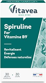 Vitavea – Spiruline – Fer – Vitamine B9 – Revitalisant – Énergie – Défenses naturelles – 30 gélules – Fabriqué en France