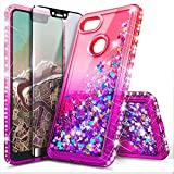 NageBee Case for Google Pixel (2016) with Tempered Glass Screen Protector for Girls Women, Glitter Bling Liquid Floating Waterfall Sparkle Diamond Durable Cute Phone Case -Pink/Purple