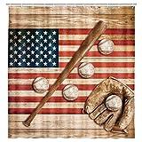 Baseball-Duschvorhang, Vintage-Baseball-Handschuh, Fledermaus-Fielding-Sport-Flagge, rustikaler Holz-Duschvorhang mit Haken, wasserdicht, 175,3 x 182,9 cm (Pink Teal)