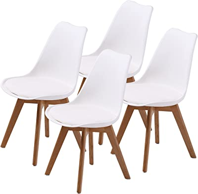 La Bella Eames PU Padded Dining Chair - White X4, Black (FT-J900-WH4)