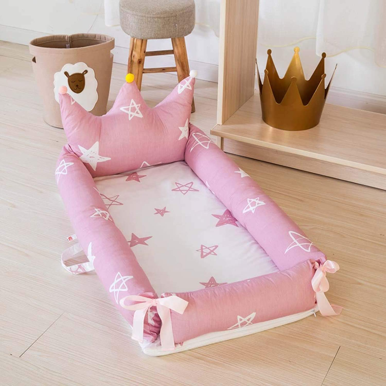Newborn Portable Imitation Uterine Bed in Bed Fully Detachable Backrest Cot for 0-2 Years Old,C,Smallbed+Pillow
