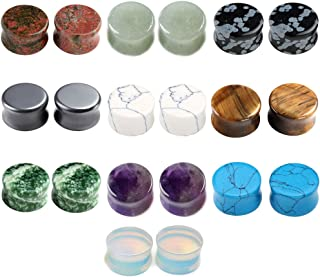 20pc Mixed Natural Semi Precious Stones Double Flared Saddle Plugs Ear Expander Stretcher Gauges 2g-5/8
