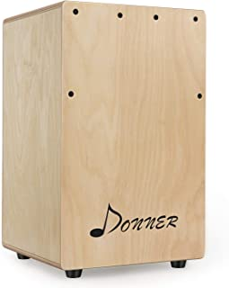 Donner DCD-1T Compact Size Cajon Box Drum for Kid Adult Travel Portable Birchwood Percussion Box Internal Guitar Strings with Bag