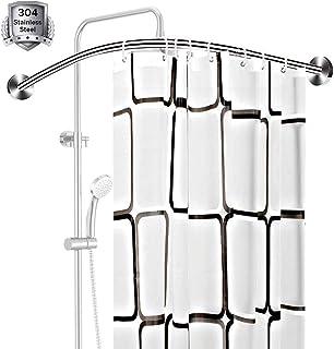 Curved Shower Curtain Rod L-Shaped No Drilling Bathroom Bathtub Bath Corner Curtain Rail Bar Adjustable,Extendable Stainle...