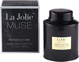 LA JOLIE MUSE Tobacco Vanilla Scented Candles Man Women - Aromatherapy Masculine Soy Large Candle, 13OZ 369g Tin Box, Hand Pour Natural Wax Blend, Sweet Home Fragrance