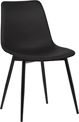 Armen Living LCMOCHBLACK Monte Dining Chair in Black Faux Leather and Black Powder Coat Finish