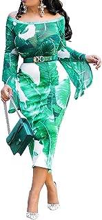 VERWIN Off Shoulder Print Mid-Calf Long Sleeve Women's Maxi Dress Bodycon Dress