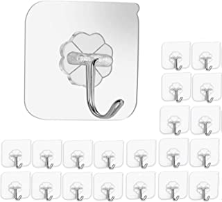 Elifino Hooks Kitchen Wall Hooks- 20 Packs Heavy Duty 13.2lb(Max) Nail Free Sticky Hangers with Stainless Hooks Reusable U...