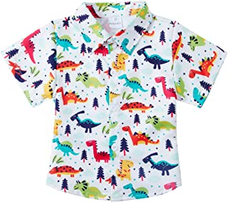Boys' Button Down Shirts Hawaiian Cartoon Print Slim-Fit Short Sleeve Cool Dress Shirt Cute Top for Kids(2-14T)