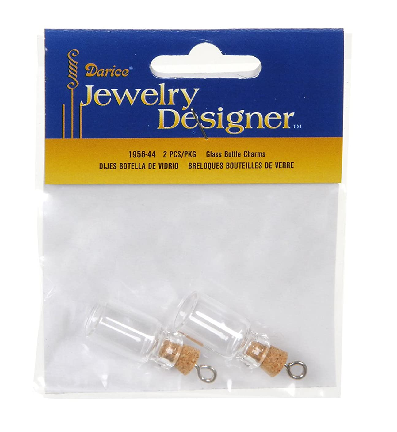 Darice 2 Piece Glass Bottle Charm with Cork Stopper, 22 mm