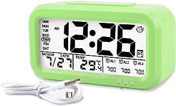 Aitey Kids Alarm Clock, Digital Alarm Clock for Kids, Time/Temperature Display, Snooze Function, 3 Alarms, Optional Weekday Mode, USB Charging (Green)