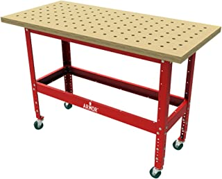 Armor-Tool BBTKIT-5425 Solid Maple Butcher Block dog Table with Steel Stand and Casters