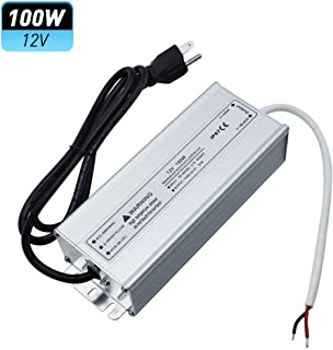 LightingWill Waterproof IP67 LED Power Supply Driver Transformer 100W 110V AC to 12V DC Low Voltage Output with 3-Prong Plug 3.3 Feet Cable for Outdoor Use