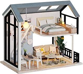 Fsolis DIY Dollhouse Miniature Kit with Furniture, 3D Wooden Miniature House with Dust Cover, Miniature Dolls House kit (Q...